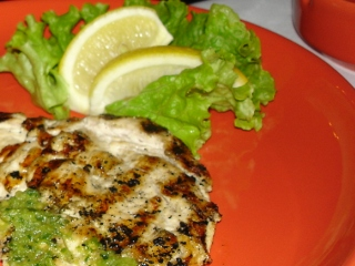 Chicken fillet with garlic and herbs in Etno, Sofia restaurant