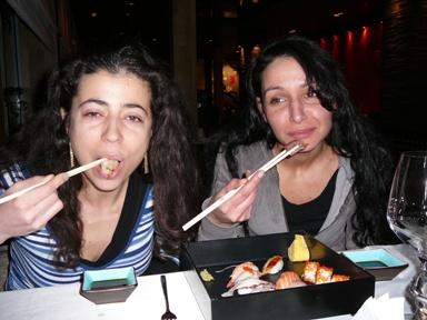 Rumi and Kami in Sasa sushi