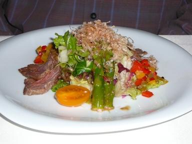 salad wih veal in Sasa sushi restaurant